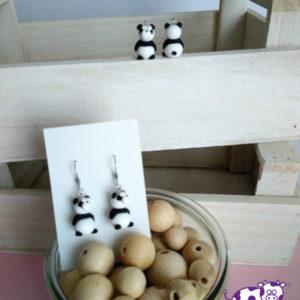 Orecchini pendenti fimo panda